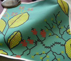 botanical cross stich pattern teal