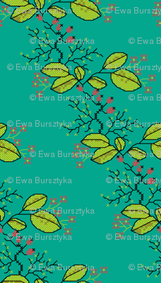 botanical cross stich pattern teal