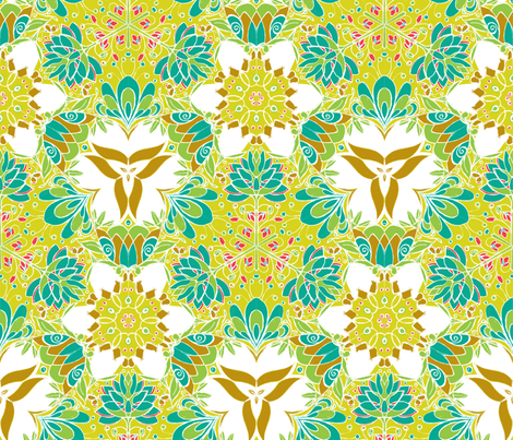 Botanical Kaleidoscope in Chartreuse - © Lucinda Wei fabric by lucindawei on Spoonflower - custom fabric