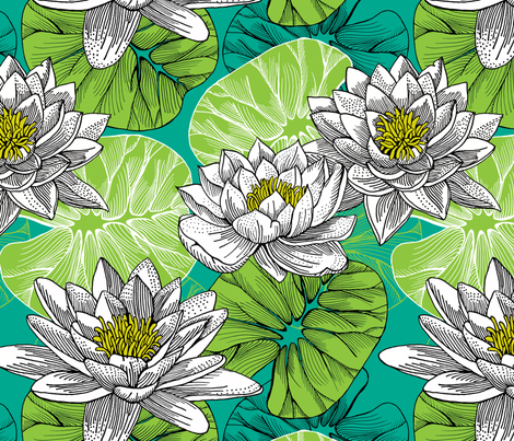 lily pond - botanical fabric by uzumakijo on Spoonflower - custom fabric