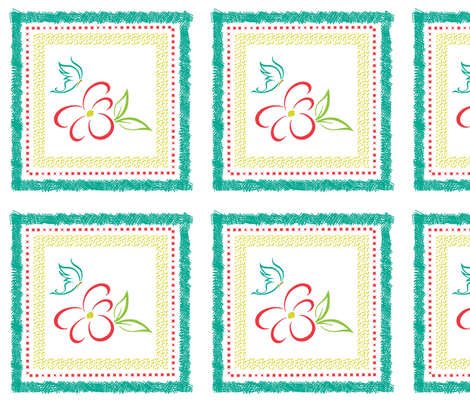 bright flower pillow panel fabric by leopardessmoon on Spoonflower - custom fabric
