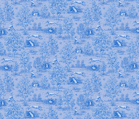 Bright Indigo Blue Reverse Greyhound Toile  ©2010 by Jane Walker fabric by artbyjanewalker on Spoonflower - custom fabric