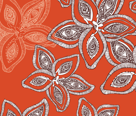 Flowers in orange fabric by valentinaharper on Spoonflower - custom fabric