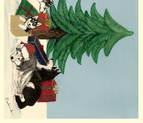 Xmas 20x25 Husky Christmas tree LAB fabric by bonz_fabric_ on Spoonflower - custom fabric