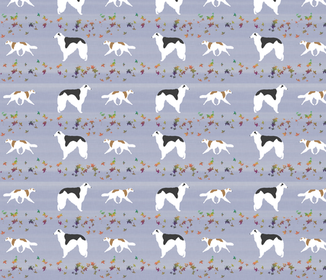Borzoi and leaves fabric by rusticcorgi on Spoonflower - custom fabric