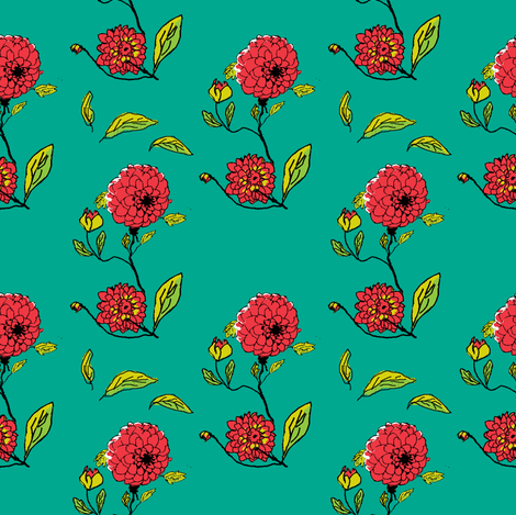 tiled_repeat_dahlias_edit_collage-ch fabric by khowardquilts on Spoonflower - custom fabric