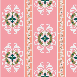 paradise blush /ornate stripe