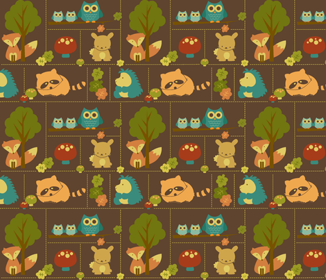 Smaller Cuddly Woodland Animal Bricks fabric by saraink on Spoonflower - custom fabric
