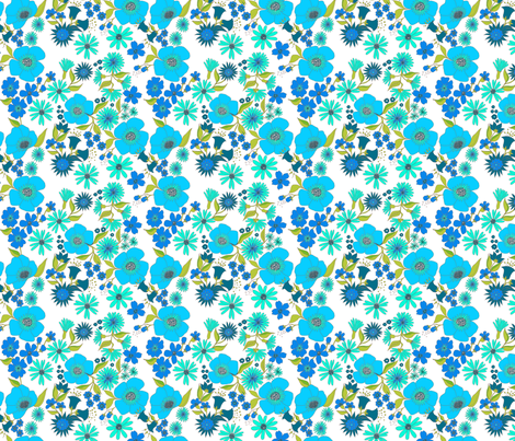 douce_fleur_turquoise_s fabric by nadja_petremand on Spoonflower - custom fabric