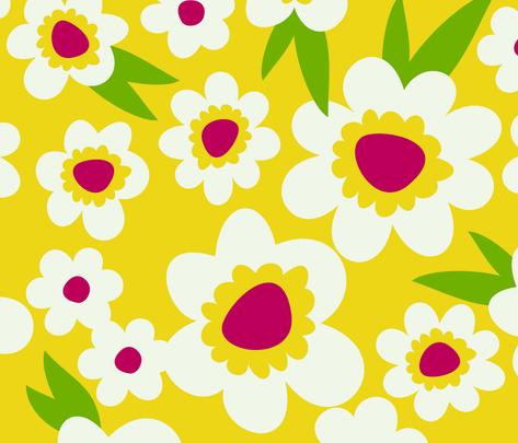Daisy Pop Yellow fabric by melaniesullivan on Spoonflower - custom fabric