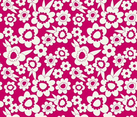 Daisy Pop Mono Pink fabric by melaniesullivan on Spoonflower - custom fabric