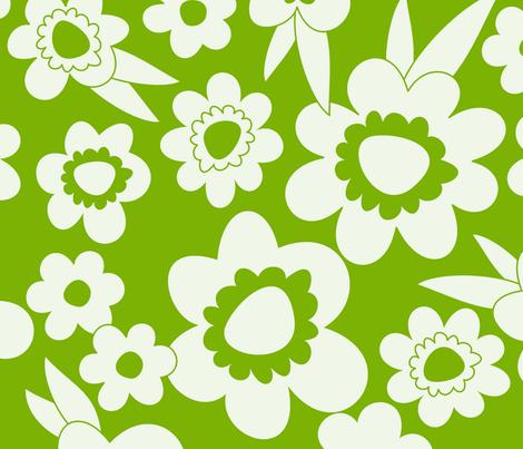 Daisy Pop Mono Green fabric by melaniesullivan on Spoonflower - custom fabric