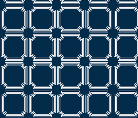 Square moldings French Navy fabric by ninaribena on Spoonflower - custom fabric