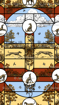 Autumn Greyhound Stained Glass ©2011 by Jane Walker