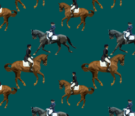 Carriage Trade Dressage Teal fabric by shenlei on Spoonflower - custom fabric