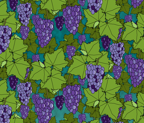Fresh Purple Grapes - Night fabric by inscribed_here on Spoonflower - custom fabric