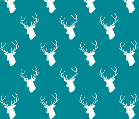 Teal Deer Silhouette fabric by mrshervi on Spoonflower - custom fabric