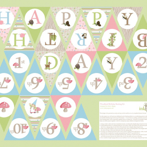 Woodland Birthday Bunting - Pink/Blue