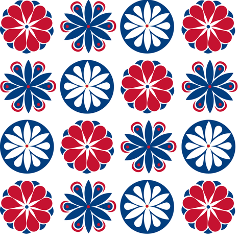 Winter Flowers in Blue and Red fabric by havemorecake on Spoonflower - custom fabric