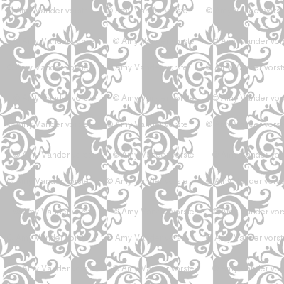 Rococo Damask in Subtle Gray and White