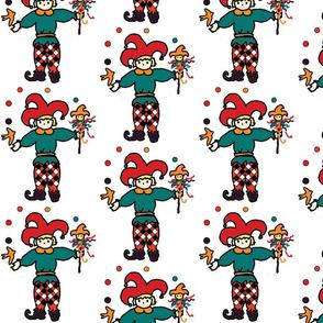 Single jester on plain background