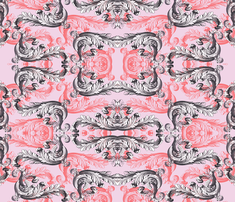 rococo pink fabric by ravynka on Spoonflower - custom fabric