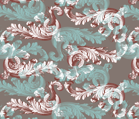 rococo_aquaandbrown fabric by ravynka on Spoonflower - custom fabric