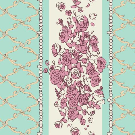 Rococo Rose Border Print fabric by shirayukin on Spoonflower - custom fabric