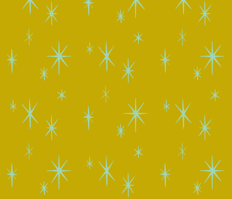 Mixers, Starbursts, lt blue on gold fabric by sophista-tiki_by_dawn_frasier on Spoonflower - custom fabric
