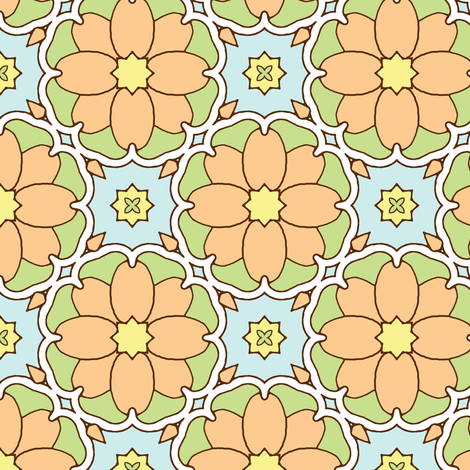 Flowers on the Vine - Apricot fabric by inscribed_here on Spoonflower - custom fabric