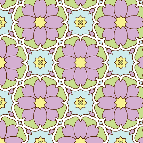 Flowers on the Vine - Lilac fabric by inscribed_here on Spoonflower - custom fabric