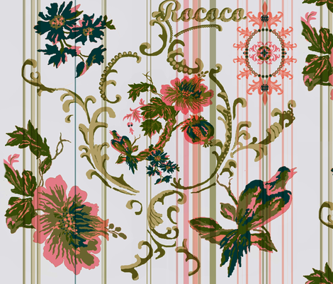 paradise rococo / taupe and pink stripe fabric by paragonstudios on Spoonflower - custom fabric