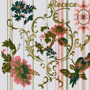 paradise rococo / taupe and pink stripe