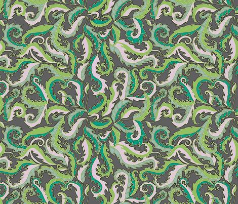 rococo decorative leaves fabric by uzumakijo on Spoonflower - custom fabric