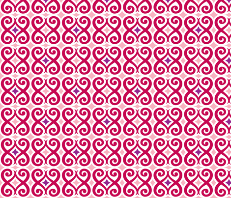 Rococo Love (Red) fabric by happysewlucky on Spoonflower - custom fabric