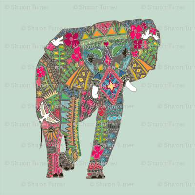 painted elephant mint 18 inch panel