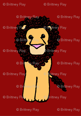 Little Curly Lion on Red