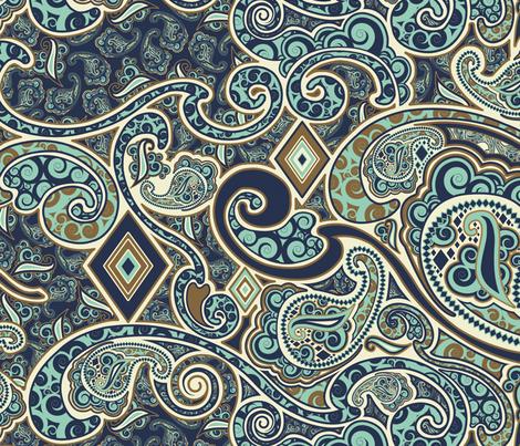 Rococo Blues fabric by kamiekazee on Spoonflower - custom fabric