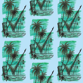 Waikikian glow  black on blu