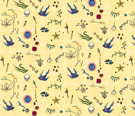 Watercolor Tattoo fabric by leighr on Spoonflower - custom fabric