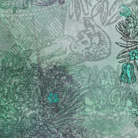 Rococo - Blue Green fabric by mudstuffing on Spoonflower - custom fabric