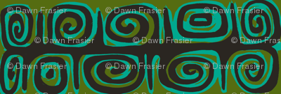 Abstractiva, matuku Strip, black on green