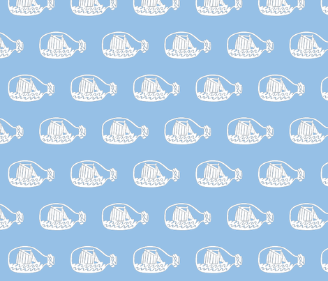 Ship in bottle - light blue background fabric by pininkie on Spoonflower - custom fabric