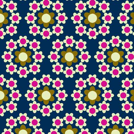 Daisy_Chain navy fabric by aliceapple on Spoonflower - custom fabric