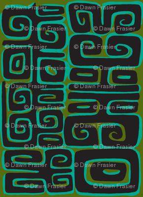 Abstractiva, Matuku, black on green