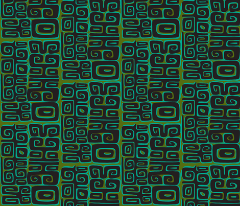Abstractiva, Matuku, black on green fabric by sophista-tiki_by_dawn_frasier on Spoonflower - custom fabric