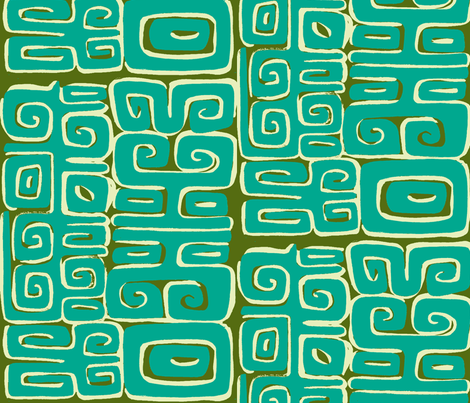 Abstarctiva, Matuku,aqua on green fabric by sophista-tiki_by_dawn_frasier on Spoonflower - custom fabric