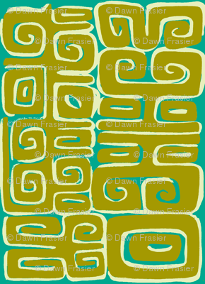 Abstractiva, Matuku, gold on blue