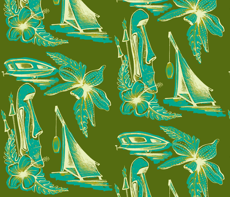 MO_Fabrics_Evening,curicao on olive fabric by sophista-tiki_by_dawn_frasier on Spoonflower - custom fabric