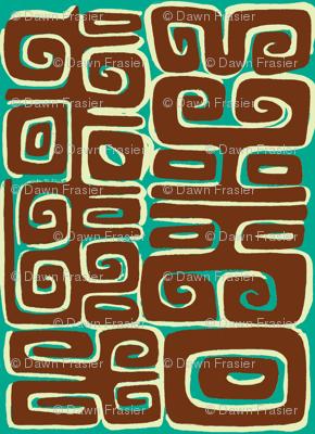 Abstarctiva, Matuku, brown on blue
